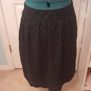 Ann Taylor Sz14 black eyelet knee length skirt